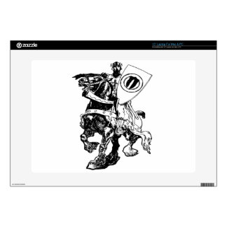 "Knight w/ Shield on Huge Fiery Black Horse 15"" Laptop Decal"