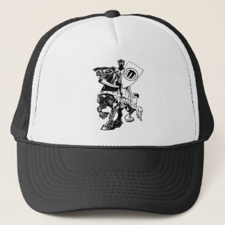 Knight w/ Shield on Huge Fiery Black Horse Trucker Hat