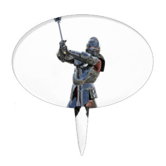 Knight walking to the right with mace cake topper