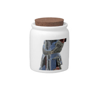 Knight walking to the right with mace candy jars