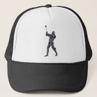 Knight walking to the right with mace trucker hat