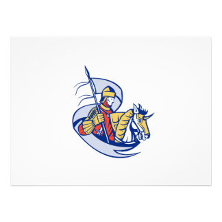 Knight With Flag Shield Horse Retro Personalised Invitations