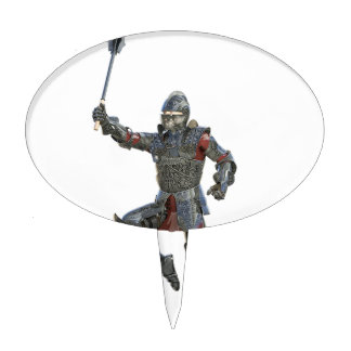 Knight with Mace Leaping to The Right Cake Topper