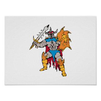 knight with shield and sword poster