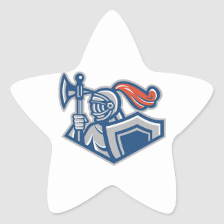 Knight With Spear Axe And Shield Star Sticker