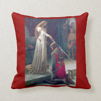 Knighted in medieval castle throw pillows