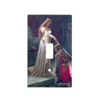 Knighted Sword Castle Medieval antique painting. Light Switch Cover