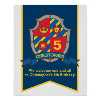 Knights boys 5th birthday heraldry shield welcome poster