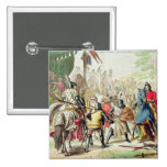 Knights Duelling on Foot in a Tournament, plate 1 2 Inch Square Button