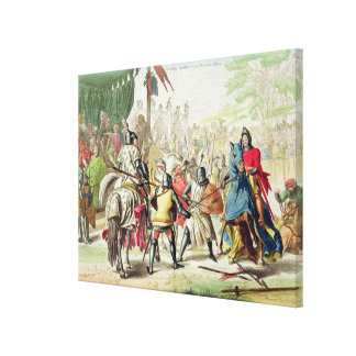 Knights Duelling on Foot in a Tournament, plate 1 Canvas Print