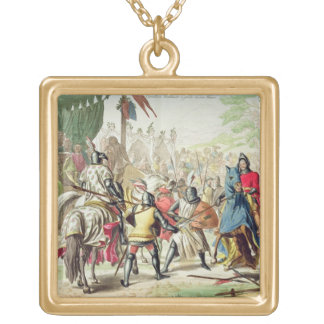 Knights Duelling on Foot in a Tournament, plate 1 Gold Plated Necklace