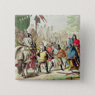 Knights Duelling on Foot in a Tournament, plate 1 Pinback Button
