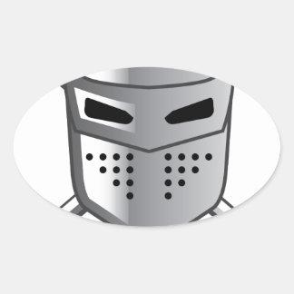 Knight's helmet and Crossed swords Vector Oval Sticker