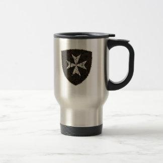 Knights Hospitaller Cross, Distressed 15 Oz Stainless Steel Travel Mug