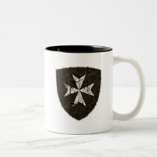 Knights Hospitaller Cross, Distressed Two-Tone Coffee Mug