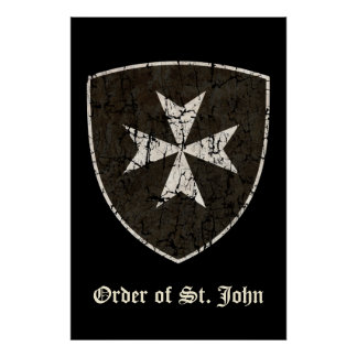 Knights Hospitaller Cross, Distressed Poster