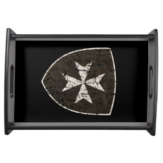 Knights Hospitaller Cross, Distressed Serving Tray