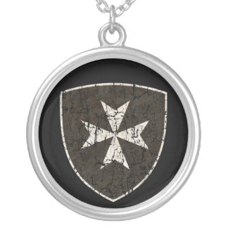 Knights Hospitaller Cross, Distressed Silver Plated Necklace
