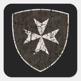 Knights Hospitaller Cross, Distressed Square Sticker