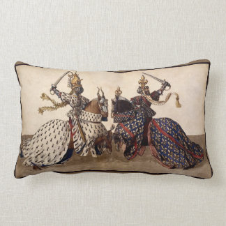 Knights jousting throw pillow