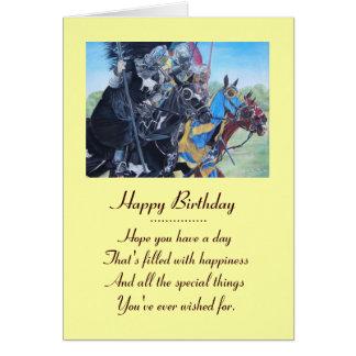 Knights on horses historic realist art card