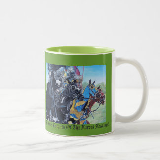 Knights on horses historic realist art Two-Tone coffee mug
