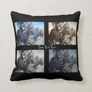 Knights on horses historic realist art throw pillows