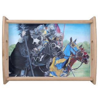 Knights on horses historic realist art service trays