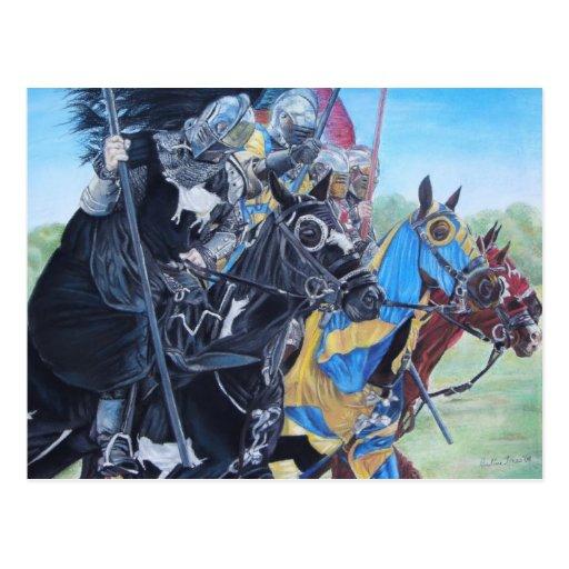 Knights on horses historic realist art postcard