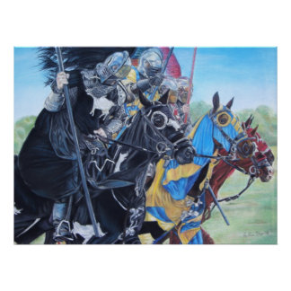 Knights on horses historic realist art poster
