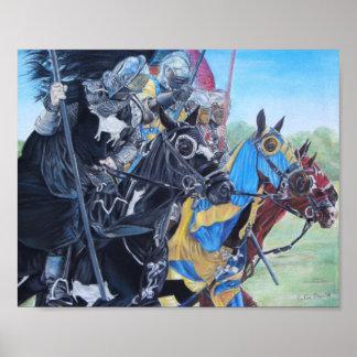 Knights on horses historic realist art print