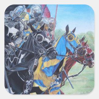 Knights on horses historic realist art sticker