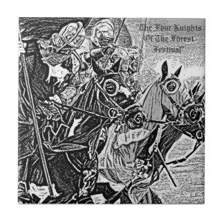 Knights on horses historic realist art tiles