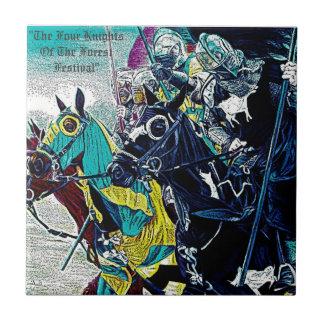 Knights on horses historic realist art ceramic tiles