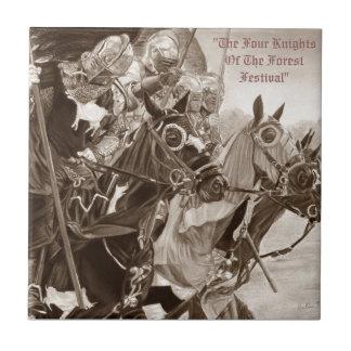 Knights on horses historic realist art tile