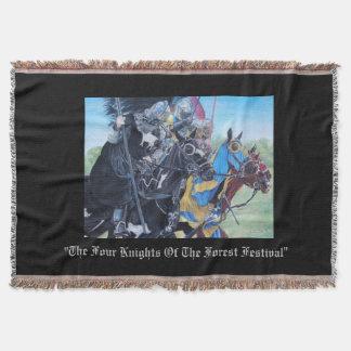 Knights on horses historic realist art throw blanket