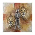 """Knights Templar 001 Ceramic Tile<br><div class=""""desc"""">The cross of St George England flag with 2 lions and a Knight Templar.</div>"""