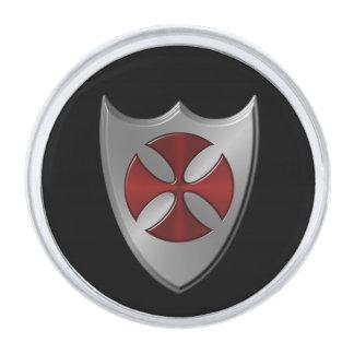 Knights Templar Cross and Shield Silver Finish Lapel Pin