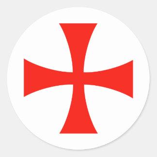 Knights_Templar_Cross Etiquetas Redondas