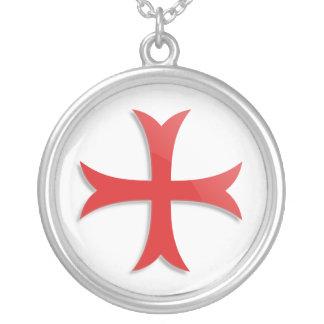 Knight's Templar Cross Symbol Round Pendant Necklace