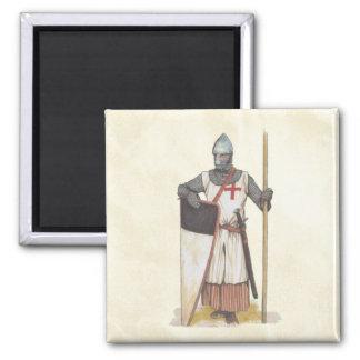 Knights Templar Medieval Warrior 2 Inch Square Magnet