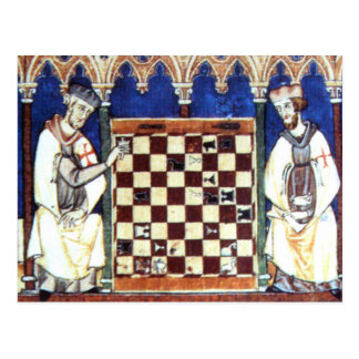 Knights Templar Playing Chess (1283) Postcard