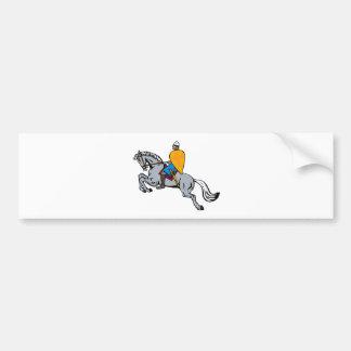 knights templar riding horse sword and shield bumper sticker