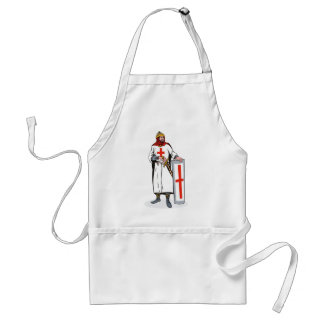 knights templar with sword and shield adult apron