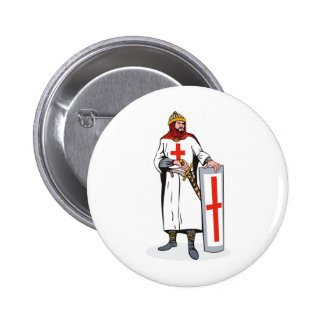 knights templar with sword and shield button
