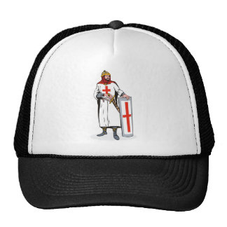 knights templar with sword and shield trucker hat