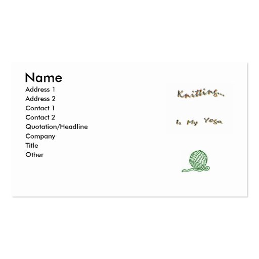 Knit as Yoga Cards Business Card Templates