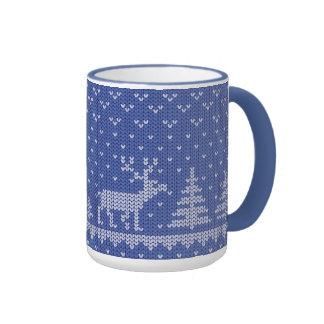 knit blue coffee mugs