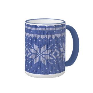 knit blue mug