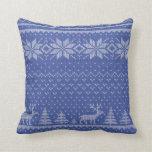 knit blue throw pillows